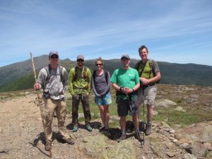 Mt. Pleasant next to Mt. Washington. Left to right: Tyler Hampton (REU student), Kyle Corcoran (REU student), Carrie Jensen, Kevin McGuire, and Scott Bailey (USFS).